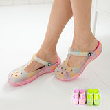 【Pretty】炫彩防水果凍洞洞雨鞋/膠鞋-粉紅/綠色