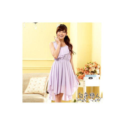 【白色戀人中大尺碼】紫色亮鑽荷葉邊不規則雪紡洋裝