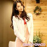 預購【CHACO韓國】OL通勤修身小西裝無釦薄款小西裝外套CLBC-J-2*粉杏色SM