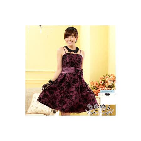 【白色戀人中大尺碼】紫色植絨印花平口肩帶小禮服