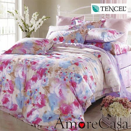 【AmoreCasa】浪漫舞曲 100%TENCEL天絲雙人四件式兩用被床包組