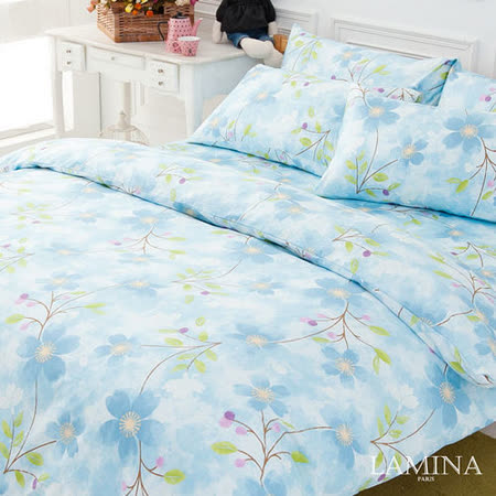LAMINA  蔚藍花海-藍  雙人精梳棉薄被套