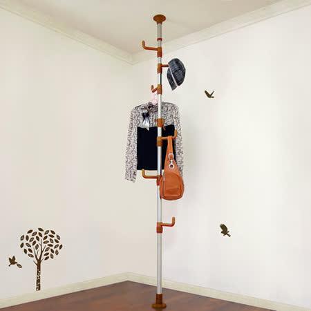 【LIFECODE】春樹頂天立地多用途衣帽架/包包架 (咖啡色)