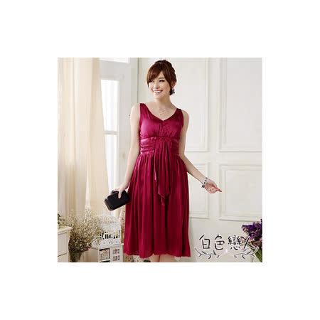 【白色戀人中大尺碼】紅色V領性感修身小禮服