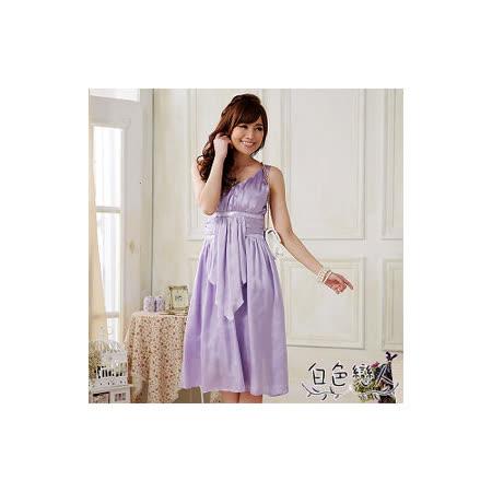 【白色戀人中大尺碼】淺紫色V領性感修身小禮服