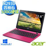 Acer E3-111-C285 11.6吋 四核心 4G 500GB 文書輕巧時尚筆電 (薔薇粉)