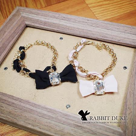 【Rabbit Duke】經典歐美風格 個性可愛蝴蝶結緞帶大寶石手鍊