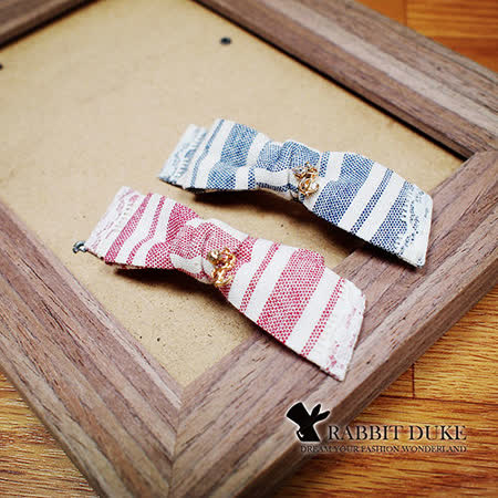 【Rabbit Duke】經典歐美風格 個性可愛夏日海洋風蝴蝶結船錨設計髮夾