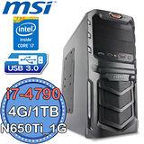 微星H97平台【電競旋風3號】Intel第四代i7四核 N650Ti-1G獨顯 1TB燒錄電腦
