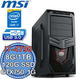 微星Z97平台【電競旋風5號】Intel第四代i7四核 GTX750-1G獨顯 SSD 120G+1TB燒錄電腦