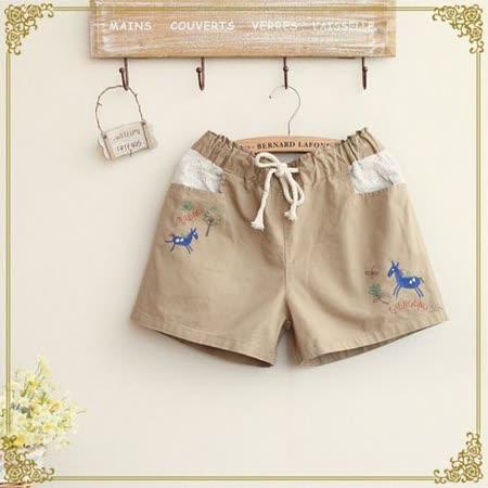 【Maya Collection森林系】躍動馬兒刺繡鬆緊腰身休閒短褲