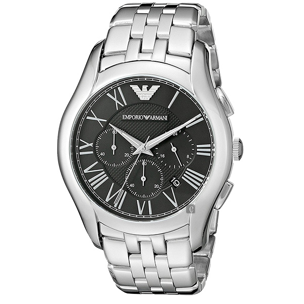 ARMANI Classic 羅馬計時腕錶-黑x銀 AR1786