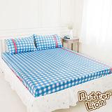 【奶油獅】格紋系列-台灣製造-100%精梳純棉床包三件組(藍)-雙人加大6尺