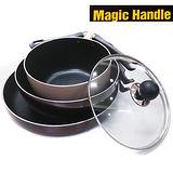 【韓國Magic Handle】可折疊鑽石鍋24cm深炒鍋+-28cm平底鍋+20cm湯鍋(附蓋)