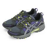 女 asics亞瑟士越野慢跑鞋--VENTURE 4--黑灰紫--T383N-9047
