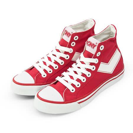 【PONY】女 經典帆布鞋 Shooter 紅白 931U1T06RD