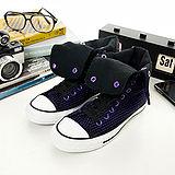 女 CONVERSE超高筒帆布鞋--黑紫--04U170122