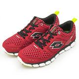 男 LOTTO 輕量氣動慢跑鞋--AIR FLOW--紅--1202