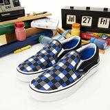 女--復古休閒鞋 SLIP ON黑灰藍格13010867