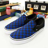 女--復古休閒鞋 SLIP ON黑藍格13010816