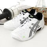 男 asics網球鞋 DEDICATE 2 白黑銀 E106Y-0199