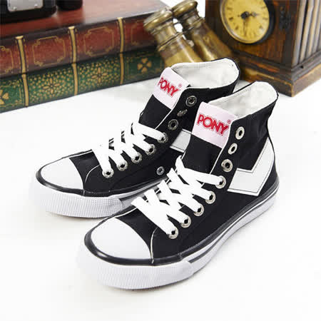 【PONY】男--經典帆布鞋 Shooter(黑白21U1T02BK)