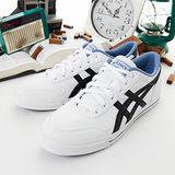 女--asics經典潮流鞋 AARON 白黑藍 H934Y-0191