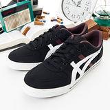 男--asics經典帆布鞋 AARON CV 黑白紫H900N-9101