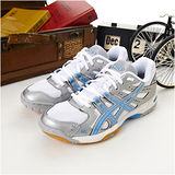 女 asics排、羽球鞋GEL ROCKET 6 白銀藍B257N-9336