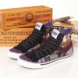 【PONY】女--經典帆布鞋 Shooter 黑紫 924U1T75BK
