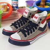 【PONY】女--經典帆布鞋 Shooter 40週年三勾版--灰藍紅22U1T17GR