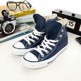 女 CONVERSE高筒帆布鞋 ALL STAR 海軍藍--170406
