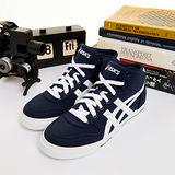 男--asics經典帆布鞋 AARON MT CV 深藍白H009N-5001