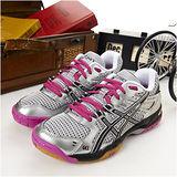 女 asics排、羽球鞋GEL ROCKET 6 銀黑桃B257N-9399