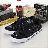 男 asics經典帆布鞋 AARON 黑白點  TQA423-9001