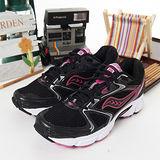 女 Saucony專業慢跑鞋GRID COHESION 5黑粉紅 15118-5