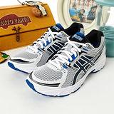 男 asics 慢跑鞋 GEL-CONTEND 白黑藍 T2F4N-0190
