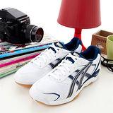 女 asics排、羽球鞋 ROTE RIVRE 白深藍TVR441-0150