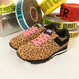 【PONY】女--繽紛韓風復古慢跑鞋--SOLA  豹紋黑 24W1T36BK