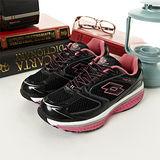 女 LOTTO健體步行鞋--Keep Fit--黑桃紅--7380