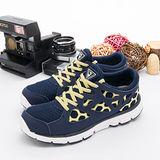 【女】 DIADORA  輕量慢跑鞋--台灣製造EASY RUN輕跑鞋 深藍黃 8397