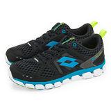男 LOTTO 輕量氣動慢跑鞋 AIR FLOW 黑藍 1200