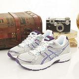 女 asics 慢跑鞋 GEL- CONTEND 白銀紫 T2F9N-9133
