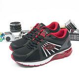 男 LOTTO 大氣墊亮彩跑鞋-PUNTO FLEX  黑紅--1060