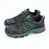 男 LOTTO 郊山越野跑鞋 TRAIL  黑灰綠 1155