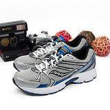 男 SAUCONY 專業慢跑鞋GRID COHESION 6   銀黑藍 25156-3