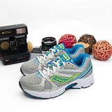 Saucony 專業寬楦慢跑鞋GRID COHESION 6-- 灰銀藍  15166-1--女