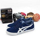女 asics經典帆布鞋 AARON MT CV  藍白 H900Q-5801