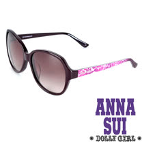 Anna Sui安娜蘇日本Dolly Girl系列復古印花圖騰款造型太陽眼鏡‧黑+紫【DG805702】