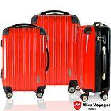 【法國 奧莉薇閣】箱衣箱隨PC鏡面三件組飛機輪行李箱/登機箱(紅/黑色)